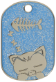 Blue Sleeping Cat Glitter Cat Tag