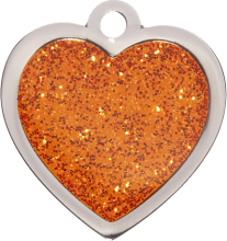 Orange Heart Glitter Cat Tag