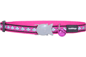 Hot Pink Fish Reflective Cat Collar by Red Dingo