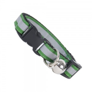 Extra Long Green Stripe Reflective Cat Collar