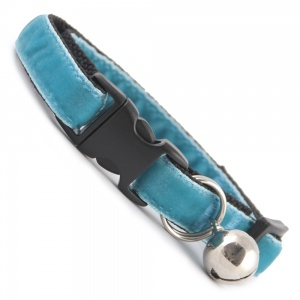 Spearmint Blue Velvet Cool Cat Collar