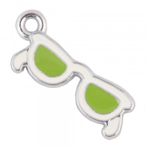 Green Sunglasses Cat Collar Charm