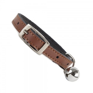 Plain Brown Leather Cat Collar