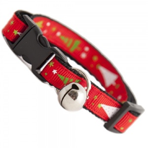Festive Christmas Tree Cat Collar - Red