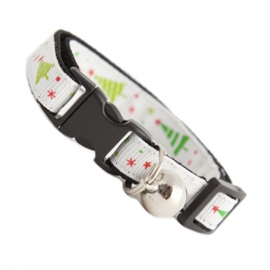 Festive Christmas Tree Cat Collar - White