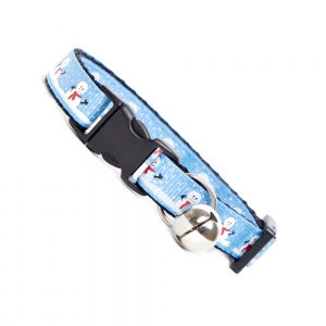 Smiley Snowman Cat Collar Blue for Christmas