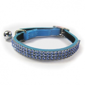 Blue Jewel Leather Cat Collar