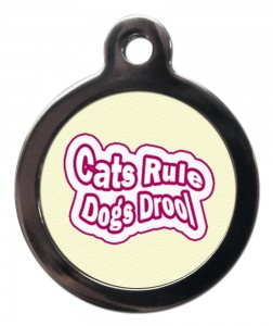 Cats Rule Dogs Drool Cat ID Tag