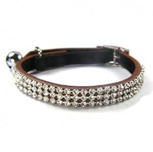 Brown Diamond Jewel Leather Cat Collar