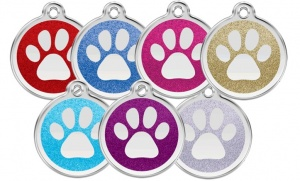 Glitter Paw Cat Tags Engraved by Red Dingo