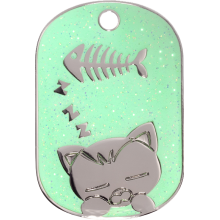 Green Sleeping Cat Glitter Cat Tag