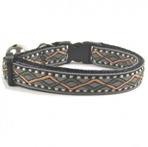 Smart Cat Collar | Woven Grey Geometric