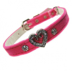 Hot Pink Velvet Swarovski Heart Cat Collar