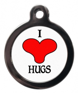 I Love Hugs Cat ID Tag
