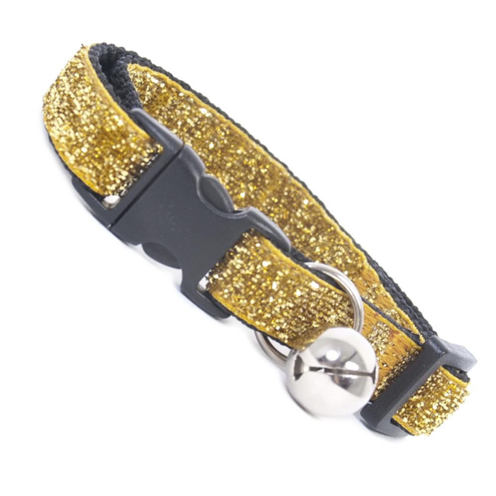 Gold Glitter Velvet Safety Cat Collar With Bell