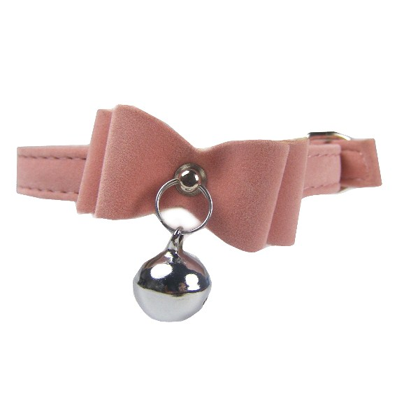 Rosa Velvet Bow Bell Cat Collar