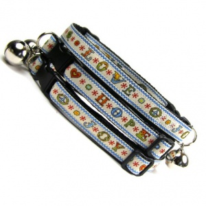 Love Hope and Joy Woven Cat Collar