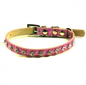 Pink Glitter and Crystal Cat Collar