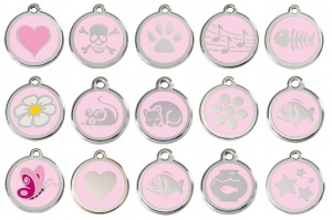 Light Pink Engraved Cat ID Tags