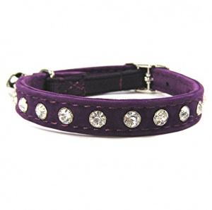 Quality Crystal Velvet Cat Collars | Purple