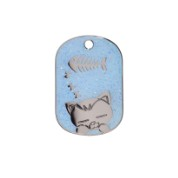 Light Blue Sleeping Cat Glitter Cat Tag