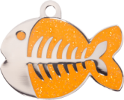 Orange Glitter Fish Cat Tag