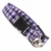 Woven Check Gingham Cat Collar - Purple