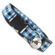 Woven Check Gingham Cat Collar - Blue