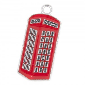 Red Telephone Box Cat Collar Charm