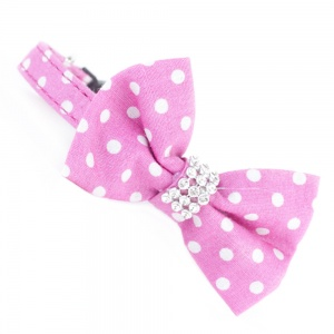 Pink Spotty Bow Tie Cat Collar