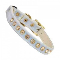 Baby Blue Velvet Diamante Cat Collar