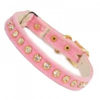 Baby Pink Velvet Diamante Cat Collar