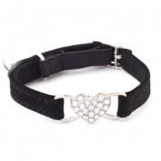 Black diamante heart cat collar