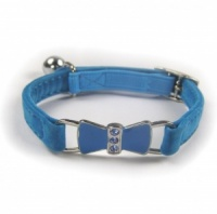Blue Bow Velvet Cat Collar