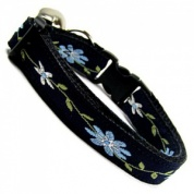 Blue Clematis Beautiful Embroidered Cat Collar