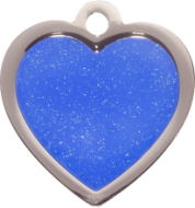 Blue Heart Glitter Cat Tag