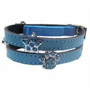 Charm Cat Collar - Blue Leather