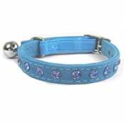 Quality Crystal Velvet Cat Collars | Blue
