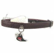 Plum Leather Bird Cat Collar by Bobby