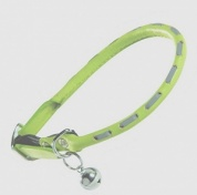 Bobby Voyageur Reflective Leather Cat Collar - Lime
