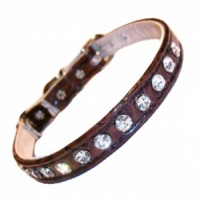 Brown Crocodile Effect Diamante Cat Collar