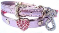 Candy Pink Swarovski Heart Cat Collar by Puchi