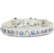 Deluxe Cat Collar | Blue Diamante & Silver Metallic