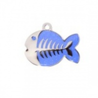 Dark Blue Glitter Fish Cat Tag