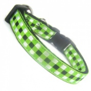 Woven Check Gingham Cat Collar - Green