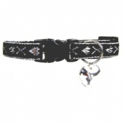 Hearts & Kisses Cat Collar | Embroidered Silver Metallic