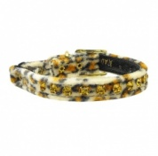 Jaguar Velvet Amber Diamante Cat Collar