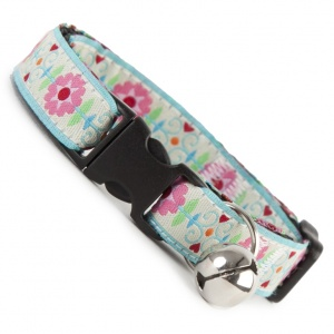Floral Burst Cool Cat Collar - Light Blue
