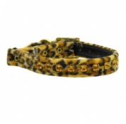 Leopard Velvet Amber Diamante Cat Collar