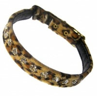 Leopard Velvet Diamante Cat Collar